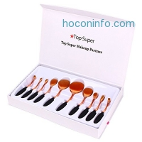 ihocon: Top Super 10Pcs Pro Oval Makeup Brush set橢圓化妝刷組