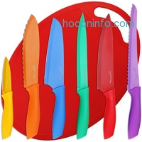 ihocon: Utopia Kitchen Non-Stick Knife Set Color-Coded and Cutting Board