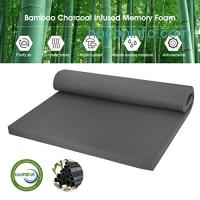 ihocon: LANGRIA 2-Inch Bamboo Charcoal Infused Memory Foam Mattress Topper, Full Size防霉抗菌竹碳記憶棉床墊
