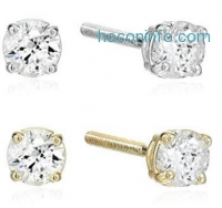 ihocon: 14k Gold Round Cut Diamond Screw Back and Post Stud Earrings (H-I Color, I2 Clarity)