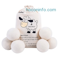 ihocon: Ohuhu Laundry Sheep Wool Dryer Balls, 6-pack衣物乾燥/柔軟羊毛烘衣球