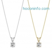 ihocon: 14k Gold Round-Cut Diamond Pendant Necklace (J-K Color, I2-I3 Clarity)