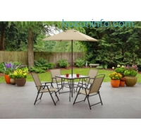 ihocon: Mainstays Albany Lane 6-Piece Folding Dining Set, Multiple Colors - Walmart.com