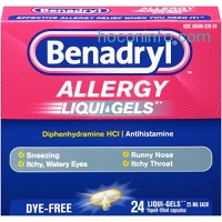 ihocon: Benadryl Allergy Dye-Free Liqui-Gels , 24 Count,(Pack of 2)
