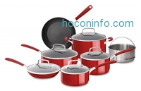 ihocon: KitchenAid KC2AS12ER Aluminum Nonstick 12 Piece Cookware Set, Empire Red
