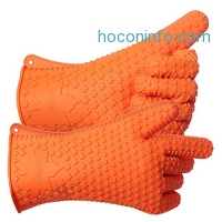 ihocon: PUREFLY Orange Silicone Heat Resistant Gloves, Great for Grilling, BBQs, Baking, Smoke Ovens,Unique Maple Leaf Design in Finest Orange Silicone. Extra Long to Cover Wrists