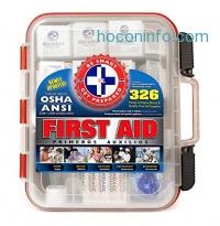 ihocon: First Aid Kit Hard Red Case 326 Pieces Exceeds OSHA and ANSI Guidelines急救箱