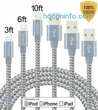 ihocon: Tecland 3 Pack 3FT 6FT 10FT Lightning Cable Nylon Braided Lightning to USB Charging Cord Charger for iPhone 6s,6, 6plus,6s plus, iPhone 5s 5 5c SE, iPad & iPod (gray+silver)