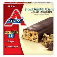 ihocon: Atkins Meal Bar, Chocolate Chip Cookie Dough, 5 Bars (Pack of 6)低碳减肥巧克力