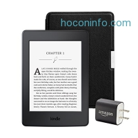 ihocon: Kindle Paperwhite Essentials Bundle including Kindle Paperwhite 6 E-Reader, Black with Special Offers, Amazon Leather Cover - Onyx Black, and Power Adapter