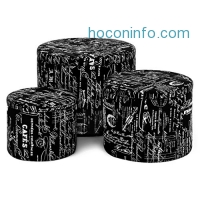 ihocon: LANGRIA 3-Piece Nesting Round French Fabric Storage Ottoman Set 儲物布面圓凳三個