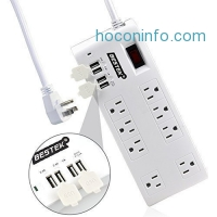 ihocon: BESTEK 8-Outlet Surge Protector Power Strip 6 Feet Cord with 5.2A 4-Port USB Charging Station電源保護插座含充電孔
