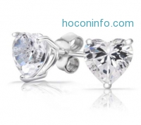 ihocon: Sterling Silver Heart Stud Earrings Made with Swarovski Elements純銀耳環