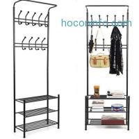 ihocon: HomfaFashion Heavy Duty Garment Rack with Shelves 3-Tier Shoes Rack,Coat Rack Hooks,Clothes Rack with Hanger Bar (Black)