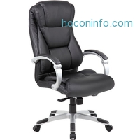 ihocon: Genesis Large Executive Office Chair - Sleek & Neutral Design, Dual Wheel Casters, Leather Plus Fabric, Padded Synchronized Handles With Adjustable Back
