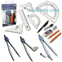 ihocon: Mr. Pen- 15 Pcs Compass Set with Swing Arm Protractor (6), Geometry Set for Students, Divider, Set Squares, Ruler, Protractor