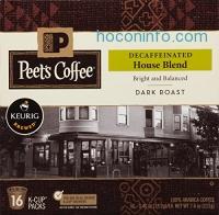[適用於Keurig K-Cup咖啡機] Peets Coffee & Tea Single Cup Coffee, Decaf House Blend, 16個膠囊咖啡$8.24免運(原價$10.99, 25% Off)