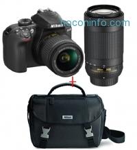 ihocon: Nikon D3400 DSLR Camera with AF-P DX NIKKOR 18-55mm f/3.5-5.6G VR and AF-P DX NIKKOR 70-300mm f/4.5-6.3G ED + FREE Nikon DSLR Bag