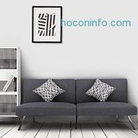 ihocon: LANGRIA Convertible Futon Sofa Bed Linen Upholstered, Split-Back Design with 5 Positions Recline, Grey