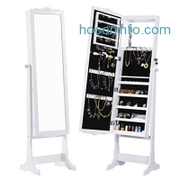 ihocon: LANGRIA Lockable Carved Jewelry Armoire Cabinet Jewelry Holder Organizer with LED lights and Additional Mirror Inside 穿衣鏡+首飾櫃