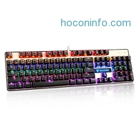 ihocon: SADES K10 Multi-color LED Backlit Wired USB Mechanical Gaming Keyboard with Blue Switches(Black / Gold)機械式遊戲鍵盤