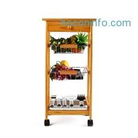 ihocon: HOMFA 4-Tiers Pinewood Kitchen Trolley 四層松木廚房收納推車