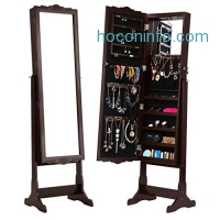 ihocon: LANGRIA Free-Standing Lockable Carved Jewelry Armoire Cabinet with Full-Length Mirror and LED lights穿衣鏡+首飾櫃