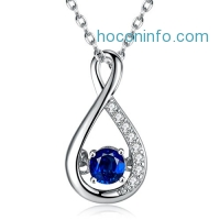 ihocon: Caperci Sterling Silver 18 Created Blue Sapphire Diamond Accent Infinity Pendant純銀人造藍寶石項鍊