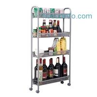 ihocon: Homfa 4-Tier Kitchen Slim Slide Out Storage Rack with Wheels四層可移動小空間置物架