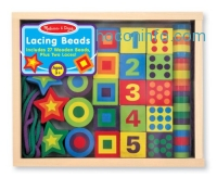 ihocon: Melissa & Doug Deluxe Wooden Lacing Beads - Educational Activity With 27 Beads and 2 Laces