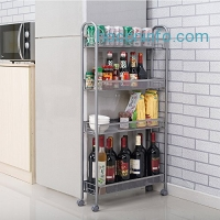 ihocon: Homfa 4-Tier Gap Kitchen Slim Slide Out Storage Tower Rack with Wheels, Cupboard with Casters 四層有輪收納架