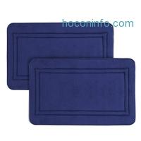 ihocon: LANGRIA Memory Foam Bath Mats, 32'' x 24'' (Navy, 2 Piece)記憶棉地墊