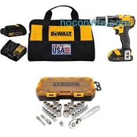 ihocon: DEWALT DCD785C2 20V MAX Lithium Ion Compact 1.5 Ah Hammer Drill/Driver Kit with  DWMT73804 Drive Socket Set (34 Piece), 1/4 and 3/8