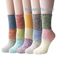 ihocon: Pack of 5 Womens Multicolor Knitted Casual Crew Socks女襪