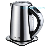 ihocon: Aicok Stainless Steel Cordless Electric Water Kettle with 6 Preset Temperature Settings - 1.7 Liters 不銹鋼無線電熱水瓶