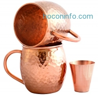 ihocon: Set of 2 Moscow Mule Copper Mugs with Shot Glass