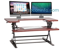 ihocon: Halter ED-600 Preassembled Height Adjustable Desk Sit / Stand Elevating Desktop - Cherry