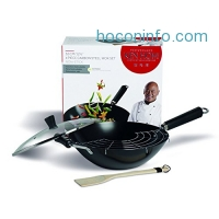ihocon: KEN HOM Nonstick Carbon Steel Wok Set with Utensils and Glass Lid - Flat Bottom Asian Stir Fry Pan with Helper Handle - 12.5, Black