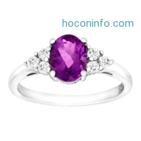 ihocon: 2 3/8 ct Natural Amethyst & White Topaz Ring in Sterling Silver
