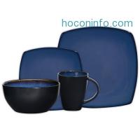 ihocon: Gibson Soho Lounge 16-Piece Square Reactive Glaze Dinnerware Set,  Blue