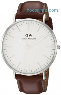 ihocon: Daniel Wellington Men's 0207DW St. Mawes Stainless Steel Watch with Brown Leather Band