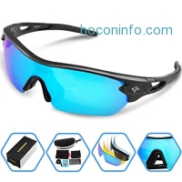 ihocon: Torege Polarized Sports Sunglasses With 5 Interchangeable Lenes