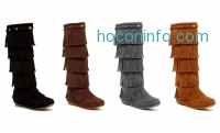 ihocon: Shoes of Soul Women's 5-Layer Fringe Boots
