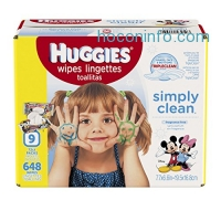 ihocon: HUGGIES Simply Clean Baby Wipes, Unscented, Soft Pack , 72 Count, Pack of 9 (648 Total)