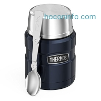 ihocon: Thermos Stainless King Food Jar with Folding Spoon, 16 ounce, Midnight Blue