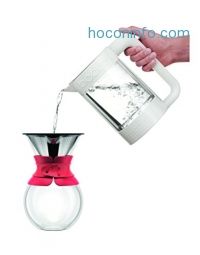 ihocon: Bodum 11571-294 Pour Over Coffee Maker with Permanent Filter, 34 oz, Red