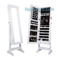 ihocon: LANGRIA Free Standing Lockable Full Length Mirrored Jewelry Cabinet首飾櫃穿衣鏡