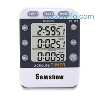 ihocon: Samshow Digital Kitchen Cooking Timer Clock,3 Channels Simultaneous Timing Countdown電子計時器