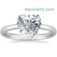 ihocon: GIA Certified 18K White Gold Heart Cut Solitaire Diamond Engagement Ring (0.71 Carat H Color SI1 Clarity)