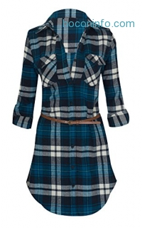 ihocon: Women's Long Sleeve Button Down Plaid Flannel Belted Tunic Shirt Dress 多色可選